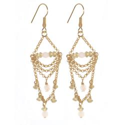 Adee Waiss 18k Yellow Gold Overlay Rose Quartz and Crystal Earrings