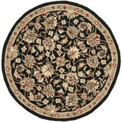 Hand-hooked Chelsea Tabriz Black/ Ivory Wool Rug (3' Round)