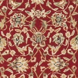 Safavieh Hand-hooked Tabriz Burgundy/ Ivory Wool Runner (2'6 x 12')