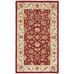 Safavieh Hand-hooked Chelsea Tabriz Burgundy/ Ivory Wool Runner (2'6 x 4')