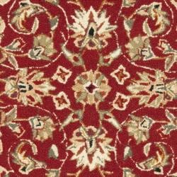 Hand-hooked Chelsea Tabriz Burgundy/ Ivory Wool Rug (2' 9 x 4' 9)