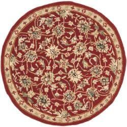 Safavieh Hand-hooked Chelsea Tabriz Burgundy/ Ivory Wool Rug (3' Round)