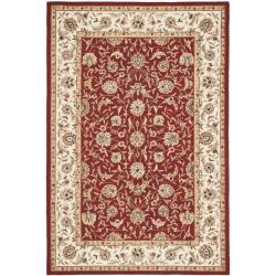 Hand-hooked Tabriz Burgundy/ Ivory Wool Rug (8' 9 x 11' 10)