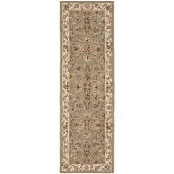 Hand-hooked Chelsea Tabriz Sage/ Ivory Wool Runner (2'6 x 10')
