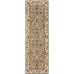 Hand-hooked Chelsea Tabriz Sage/ Ivory Wool Runner (2'6 x 12')