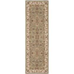 Hand-hooked Chelsea Tabriz Sage/ Ivory Wool Runner (2'6 x 6')