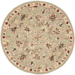 Hand-hooked Chelsea Tabriz Sage/ Ivory Wool Rug (3' Round)