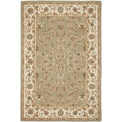 Hand-hooked Chelsea Tabriz Sage/ Ivory Wool Rug (6' x 9')