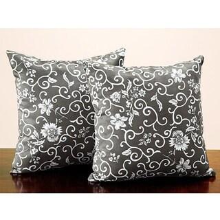 Tribecca Home Dark Olive Flora 18-inch Throw Pillows (Set of 2)
