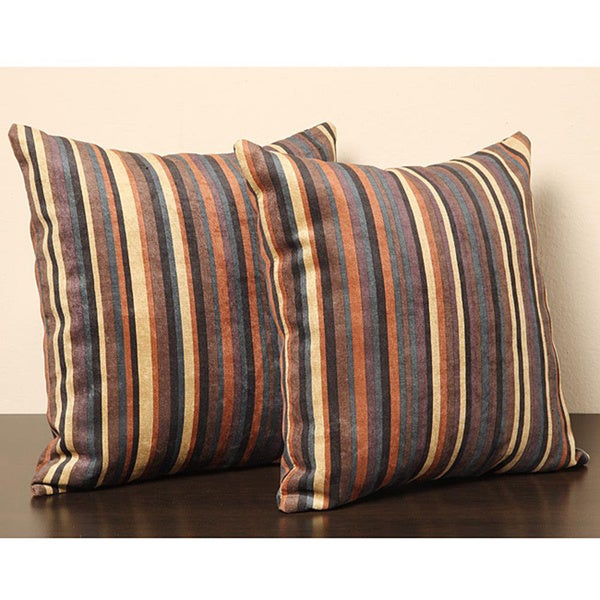 Tribecca Home Brown Stripe18-inch Pillows (Set of 2)