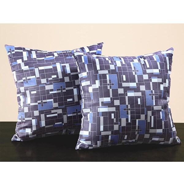 Geometric 18-inch Dark Blue Throw Pillo