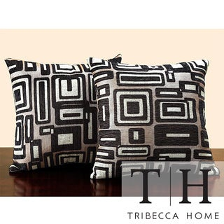 Tribecca Home Buff/ Black Geometric 18-inch Pillow (Set of 2)
