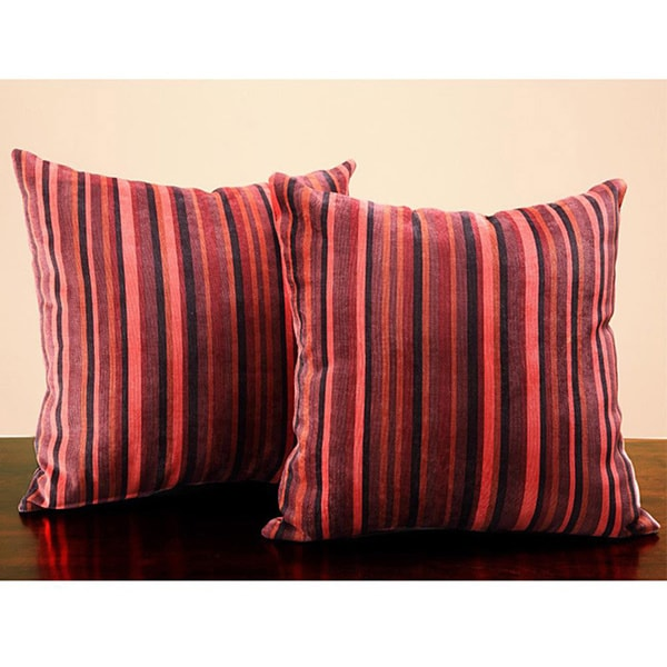 Tribecca Home Red Stripe 18-inch Pillows (Set of 2)