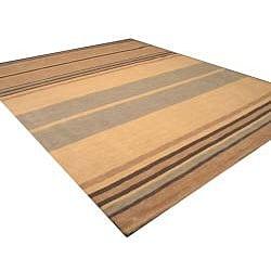Hand-tufted Alden Beige Stripe Wool Rug (7'9 x 9'9)