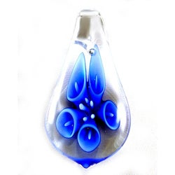 Murano Inspired Glass Clear and Blue Lily Flower Tear Drop Pendant