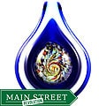 Murano Inspired Glass Cobalt Blue Button Pendant