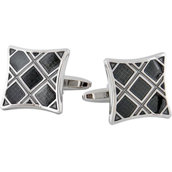 Cuff Daddy Rhodium Black Plaid Cuff Links