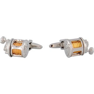 High-polish Rhodium/14K Goldplated Bullet-back Fishing Reel Cuff Links