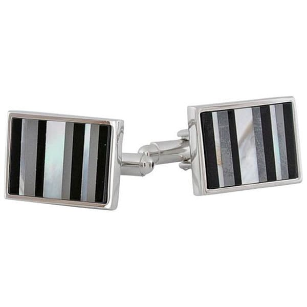 Cuff Daddy Rhodium Mixed Media Cuff Links