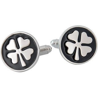 Cuff Daddy Rhodium Plated 4-leaf Clover Cuff Links