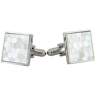 Cuff Daddy Rhodium Plated White Mother of Pearl Honeycomb Design Cuff Links