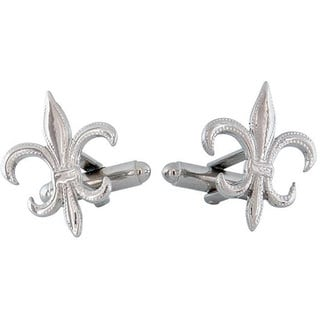 Cuff Daddy Rhodium Fleur de Lis Textured Cuff Links