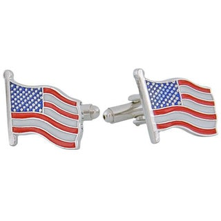 Cuff Daddy Rhodium Wave Your Flag Cuff Links