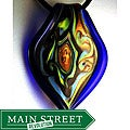 Murano Inspired Glass Blue Twisted Leaf Swirl Pendant