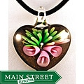 Murano Inspired Glass Pink Lily Flower on Black and Gold Heart Pendant
