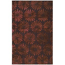 Tufted Flori Gianti Cranberry Wool (5' x 8')