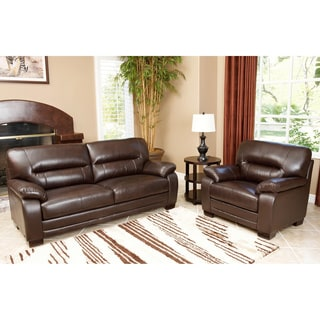 Abbyson Living Wilshire Premium Top-grain Leather Sofa and Chair Set