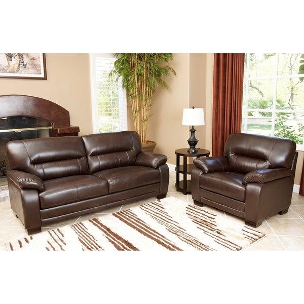 ABBYSON LIVING Wilshire Premium Top-grain Leather Sofa and Chair Set