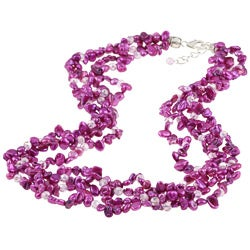 Sterling Silver Freshwater Pearl and Crystal 4-strand Necklace