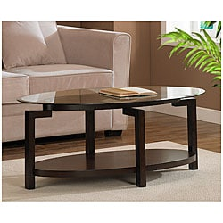 Tanner Espresso Coffee Table with Shelf