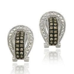 DB Designs Sterling Silver 1/3ct TDW Brown Diamond Buckle Earrings