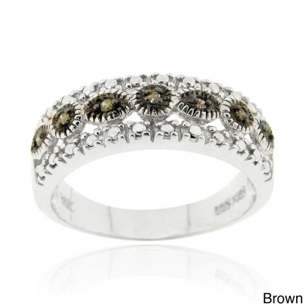 DB Designs Sterling Silver Black or Brown Diamond Accent Ring