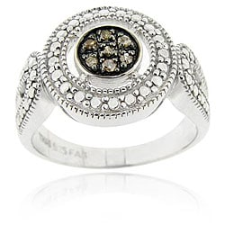 DB Designs Sterling Silver Brown Diamond Accent Cluster Ring