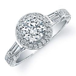 18k Gold 3/4ct TDW Diamond and CZ Center Engagement Ring (H, SI1)