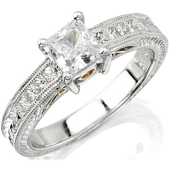 14k Gold 1/4ct TDW Designer Diamond and CZ Center Engagement Ring (H, SI1)