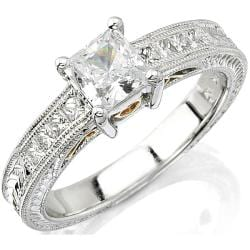 14k Gold 1/4ct TDW Designer Diamond and CZ Center Engagement Ring (H, SI1)