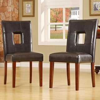 Alsace Dark Brown Faux Leather Side Chairs (Set of 2)