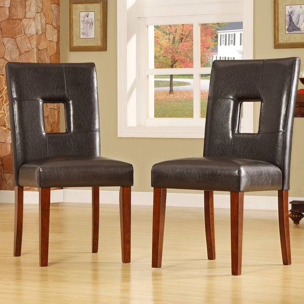 TRIBECCA HOME Alsace Dark Brown Faux Leather Side Chairs (Set of 2)