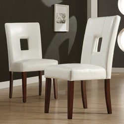 Alsace White Faux Leather Side Chairs (Set of 2)