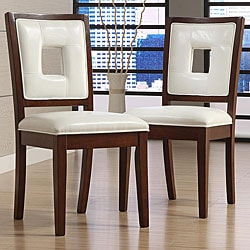 Dijon White Faux Leather Side Chairs (Set of 2)