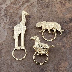 SPEC Pin Goldplated Brass Wild Animals Glasses Holder (Set of 3)