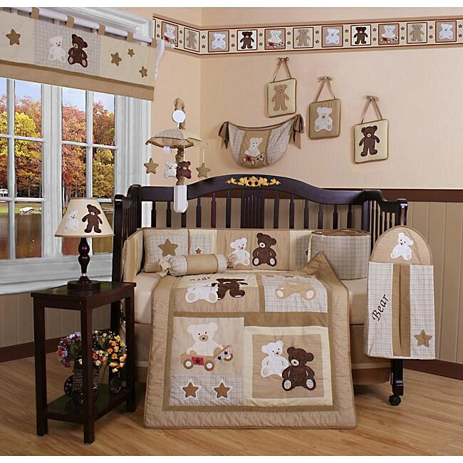 Geenny Teddy Bear 13-piece Crib Bedding Set