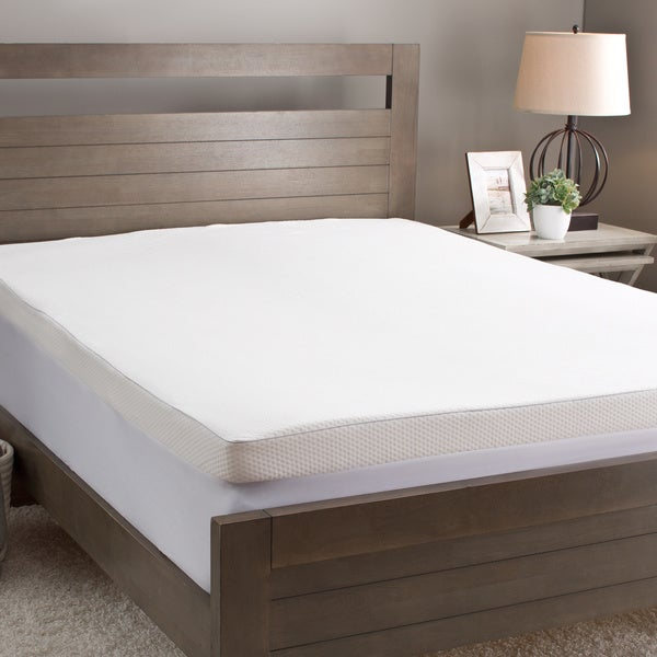 Slumber Solutions 4-inch Memory Foam Mattress Topper with Waterproof Cover