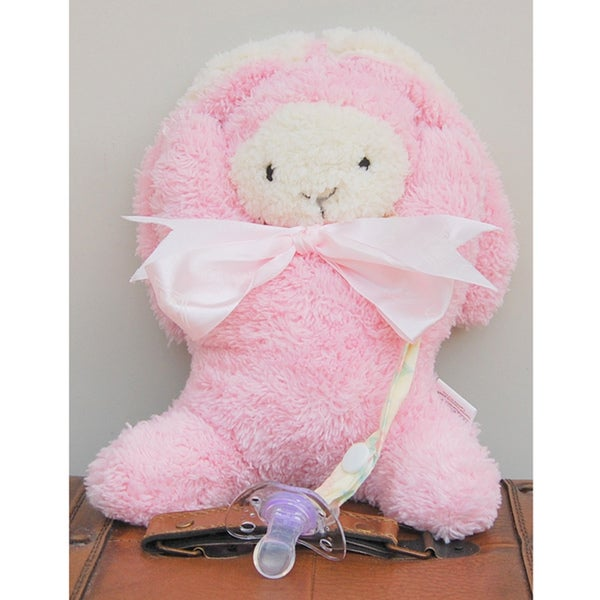 Mia Belle Baby Plush Pink Bunny Pacifier Holder Gift Set