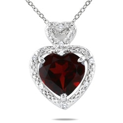 10k White Gold Garnet and Diamond Heart Necklace