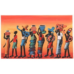 Chico 'Sunset Water Walk Village Scene' Canvas Art (Malawi)